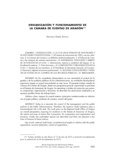 Organización y funcionamiento de la Cámara de Cuentas de Aragón