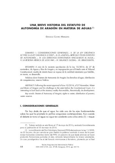 Una breve historia del Estatuto de Autonomía de Aragón en materia de aguas