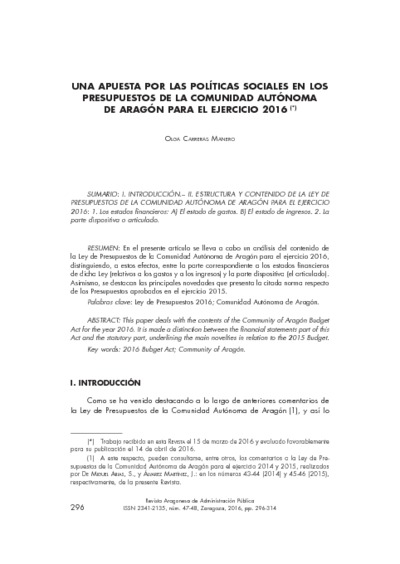 Una apuesta por las políticas sociales en los Presupuestos de la Comunidad Autónoma de Aragón para el ejercicio 2016
