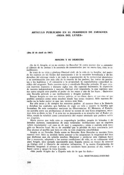 Aragón y su Derecho.