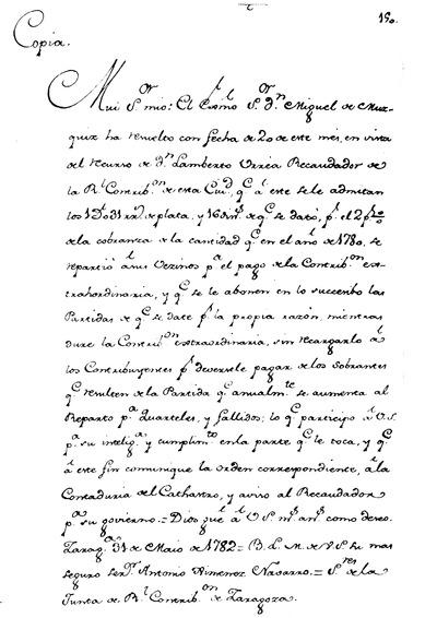 Orden del Excmo. Señor Don Miguel de Muzquiz para que se abone al Recaudador D. Lamberto Urxea, el dos por Ciento de la Contribucion extraordinaria.