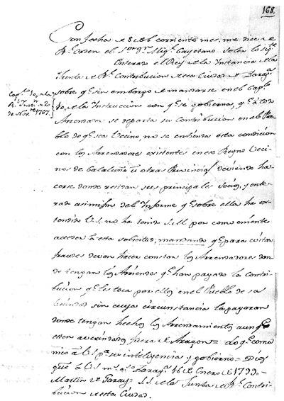 Real Declaracion para que conforme a la de 12 de Septiembre de 1772, ... a la Real Instruccion de 1767, se siga repartiendo la Contribucion a los Arrendadores, en el Pueblo de su domicilio: se expiro por varias dudas que resaltaron a la Junta, ...