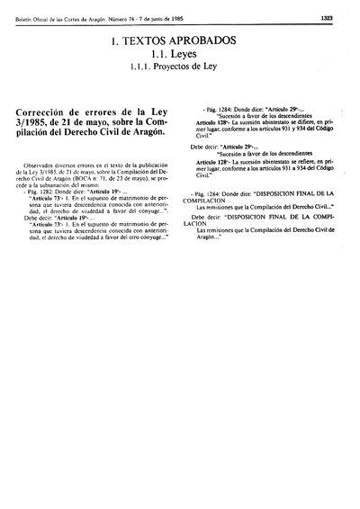 Correción de errores de la Ley sobre la Compilación del Derecho Civil de Aragón.