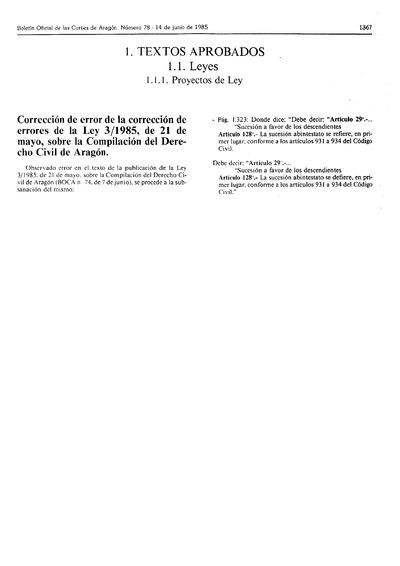 Correción de error de la correción de errores de la Ley 3/1985, de 21 de mayo, sobre la Compilación del Derecho Civil de Aragón.
