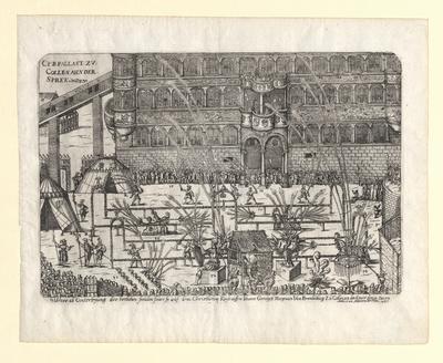 C.F.B. Palast zu Collen ahn der Spree. Ware ab Conterfeyung des herlichen freuden feurs so auf dem Christlichem Kindtauffen Iohanns Gergen Magraven von Brandenburg Zu Collen an der Spree den 14. Decem. anno 1592 gehalten worde