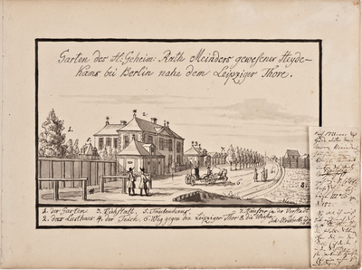 Garten des H. geheim. Rath Meinders gewesener Heyde-/ kams bei Berlin nahe Leipziger Thore