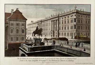 Vue du Cháteau du coté du Levant, avec une partie du grand pont et la Statue Equestre de Guillaume le Grand. [...]