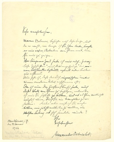 Eigenhändiger Brief von Alexander Olbricht an Heinrich Zille betr. der Übersendung der Hetärengespräche