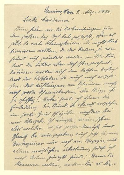 Eigenhändiger Brief von Margarete Zille m.e.U. an Marianne Zöllner betr. einer Einladung zum großen Tag für den die Vorbereitungen noch so viele Kleingkeiten erfordern