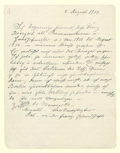 Zeugnis des Dieners Franz Broszeit, im Dienst vom 1. Januar 1913 bis zum August 1914