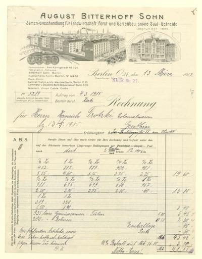 Rechnung der Firma August Bitterhoff Sohn, Samen-Grosshandlung für Landwirtschaft, Frost- und Gartenbau, sowie Saat - Getreide, an Herrn Heinrich Trotzki, Kolonialwaren