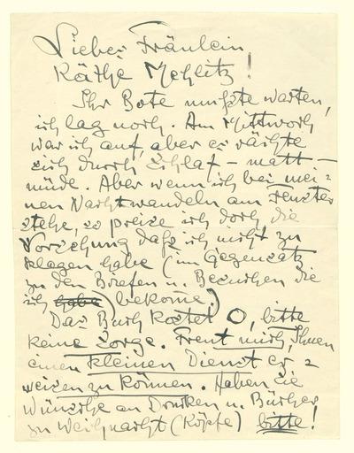 Eigenhändiger Brief Heinrich Zilles an Käthe Mehlitz betr. matt- u. müde-seins Zilles, einem Buchgeschenk an Mehlitz und ihren Weihnachtswünschen