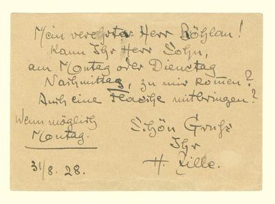 Eigenhändige Postkarte von Heinrich Zille an Friseur Fr. Böhlau betr. Hausbesuch des Sohnes mit einer Flasche
