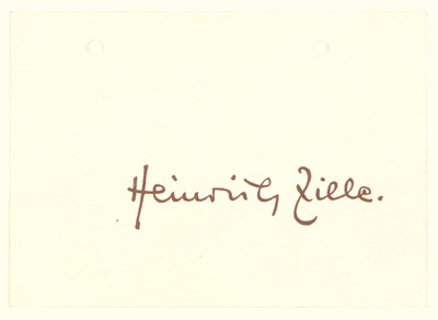 Einladung zur Eröffnung der Heinrich Zille Ausstellung am 29.01.1958 anlässlich des 100. Geburtstags Heinrich Zilles durch den Senator für Volksbildung Tiburtius und den Bezirksbürgermeister von Schöneberg Wolff