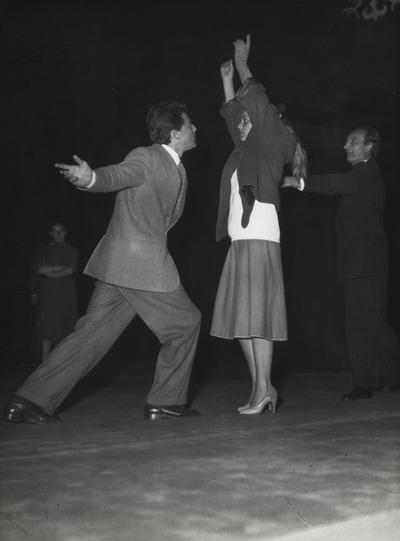 Gerard Philipe, Jeanne Moreau, Regie Jean Vilar. Probe Prinz von Homburg, Schiller Theater 1952,