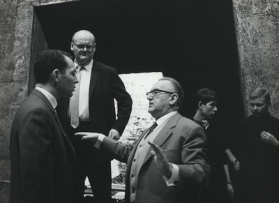 Probe mit Solisten Montezuma, William Dooley, Prof. Helmut Melchert, Gustav Rudolf Sellner Regie