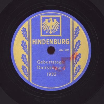 Geburtstags-Danksagung 1932