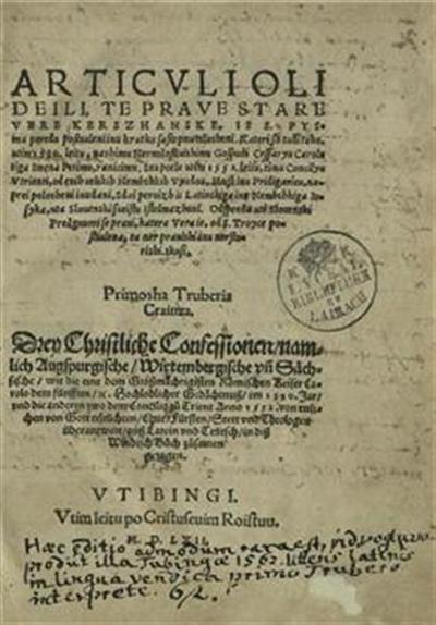 Articuli oli deili, te prave stare vere kerszhanske, is S. Pysma po redu postauleni inu kratku sastopnu islosheni; Drey Christliche Confessionen, namlich Augspurgische, Wirtembergische vnd Sächische; kateri so tudi taku, utim 1530. leitu ... Inu potle utim 1552. leitu, timu Concilyu Vtrienti, od enih uelikih Nembshkih vyudou ... naprei polosheni inu dani; wie die eine ... im 1530. Jar, vnd die anderen zwo dem Concilio zu Trent anno 1552. von ettlichen von Gott erleüchten, Chur, Fürsten ... überantwort