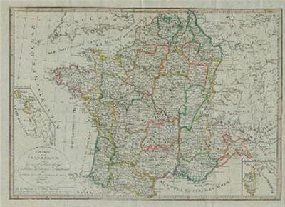 Karte von Frankreich nach der neuesten Einteilung in Militär – Divisionen und Departemente mit Beziehung auf die alte Einteilung in Provinzen entworfen.