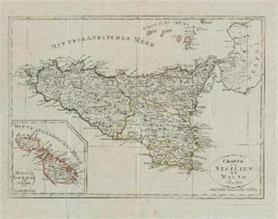 Karte von Sicilien und Malta