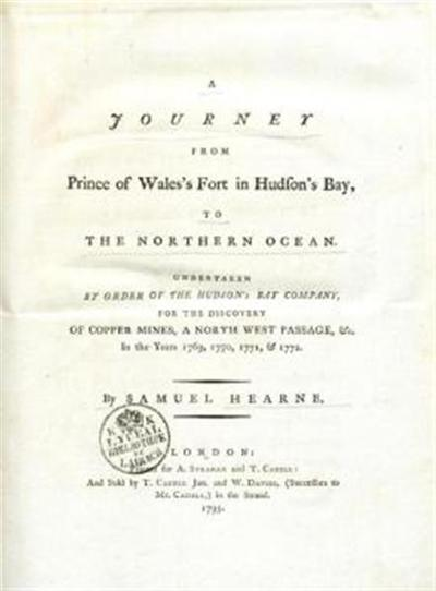 A journey from Prince of Wales's fort in Hudson's s bay to the Northern ocean undertaken by order of the Hudson's bay company for the discovery of copper mines, a north west passage, [et]c.
