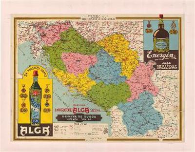 Prometna karta sa oznakom banovina Kraljevine Jugoslavije