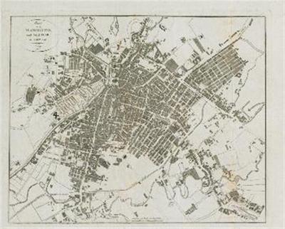Plan von Manchester und Saalford in England