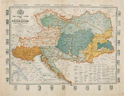 Neuste Völker- Telegrafen- und Eisenbahn- Karte des Keiserthumes Österreich mit der neuen politischen Eintheilung, und Angabe der Handels- und Gewerbe - Kammern