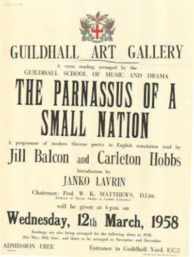 The Parnassus of a Small Nation - Guidhall School of Music and Drama; a programme of modern Slovene poetry in English translation read by Jill Balcon and Carleton Hobbs