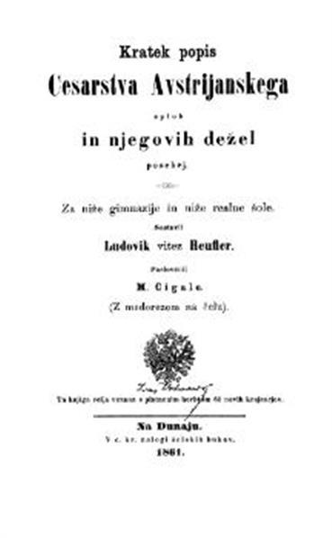 Kratek popis Cesarstva Avstrijanskega sploh in njegovih dežel posebej; za niže gimnazije in niže realne šole