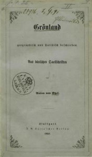 Grönland geographisch und statistisch bescrieben. Aus dänischen Quellschriften