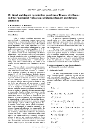On direct and stepped optimization problems of flexural steel frame and their numerical realization considering strength and stiffness conditions