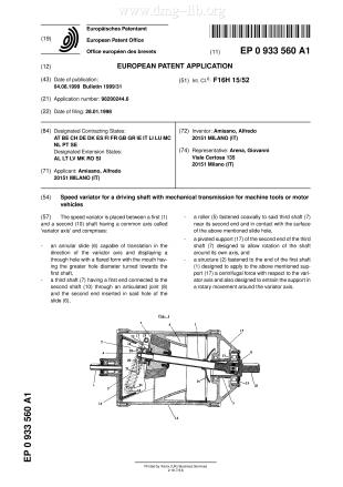 Stufenloses mechanisches Getriebe für eine Antriebswelle für Werkzeugmaschinen oder Kraftfahrzeuge
