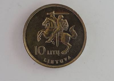 Leonas Pivoriūnas. Moneta, skirta popiežiaus Jono Pauliaus II vizitui į Lietuvą pažymėti