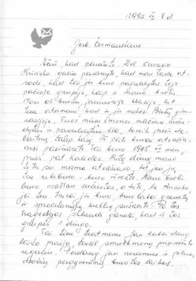 Vandos Jonaitienės (Macijauskaitės) laiškas. 1992-07-08
