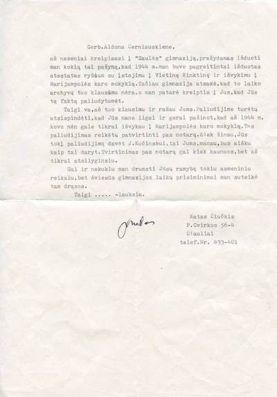 Mato Čiučkio laiškas. 1990