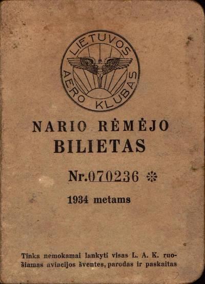 Petro Kregždės, Lietuvos aeroklubo nario rėmėjo, bilietas