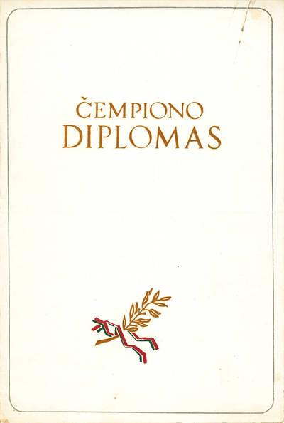 Čempiono diplomas Limai Banevičiūtei. 1965
