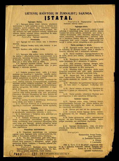 Lietuvių rašytojų ir žurnalistų sąjunga. Įstatai. - 1922