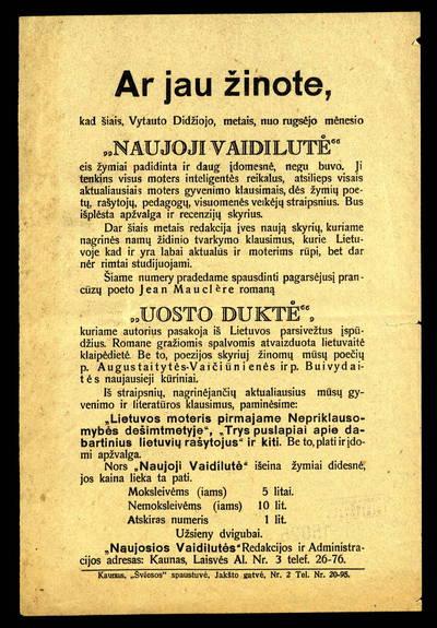 Ar jau žinote, kad šiais, Vytauto Didžiojo, metais, nuo rugsėjo mėnesio Naujoji vaidilutė eis žymiai padidinta ir daug įdomesnė, negu buvo. - 1930