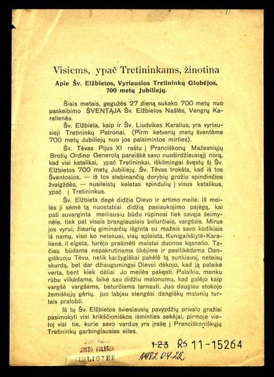 Visiems, ypač tretininkams, žinotina apie šv. Elžbietos, vyriausios tretininkų globėjos, 700 metų jubiliejų / T. Kazimieras Čepulis O.F.M. - 1931