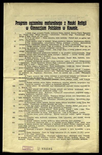 Program egzaminu maturalnego z nauki religji w Gimnazjum Polskiem w Kownie. - 1930