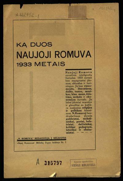 Naujosios Romuvos bičiulių sąjungos leidinys. Ką duos Naujoji Romuva 1933 metais. - 1932