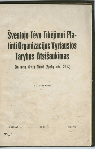 Šventojo Tėvo Tikėjimui platinti organizacijos vyriausios tarybos atsišaukimas. - 1934