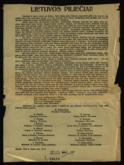Lietuvos piliečiai!. - 1919