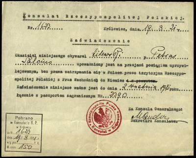 Petro Šalčiaus rankraščių fondas. Biografiniai ir buities dokumentai. [Lenkijos Respublikos konsulato pažyma]. - 1921.08.19