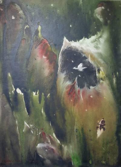 Valerijus Bodiajus. Meno kūrinys. Akvarelė kosmoso tema. 2006