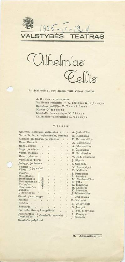 Valstybės teatro spektaklio, F. Šileris. VILHELMAS TELIS. Programa.