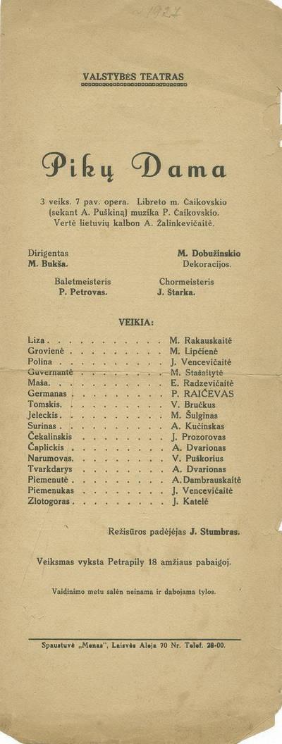 """Piotro Čaikovskio operos """"Pikų dama"""", pastatytos Valstybės teatre, programa."""