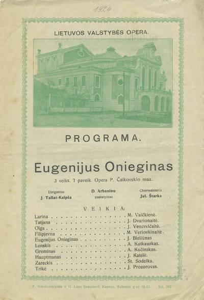 """Lietuvos Valstybės operos teatro spektaklio - Piotro Čaikovskio operos """"Eugenijus Oneginas"""" programa"""